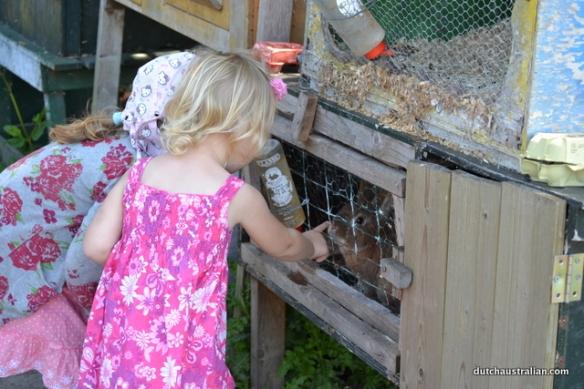girls and rabbit
