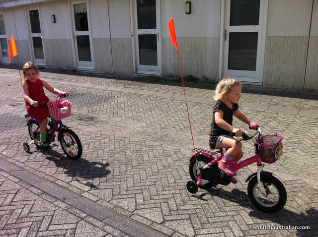 girls learning to cycle