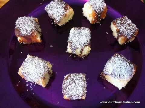 lamingtons on purple plate