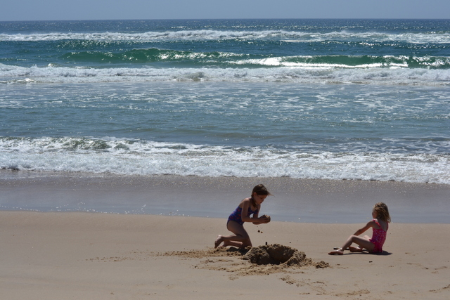 Digging hole in sand