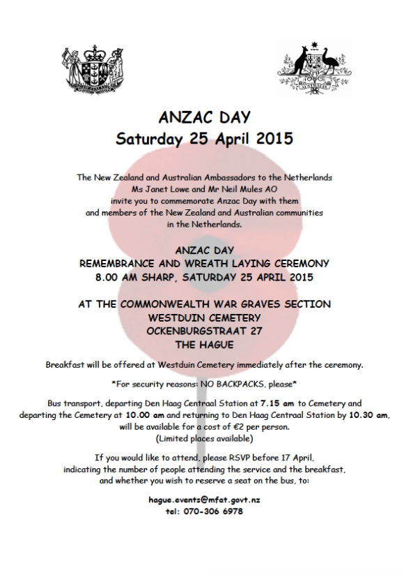 ANZAC Day The Hague